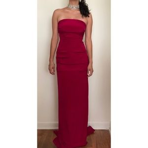 Nicole Miller Strapless Silk Evening Gown Like-New